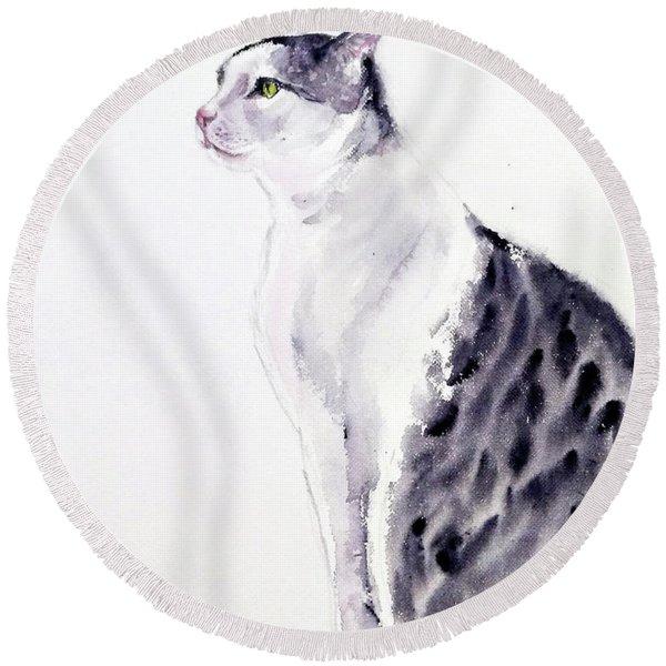 Alert Cat Round Beach Towel
