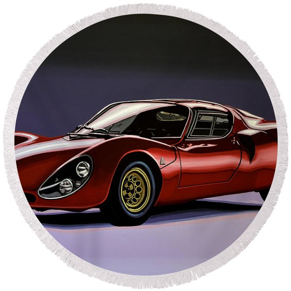 Alfa Romeo 33 Stradale 1967 Painting Round Beach Towel