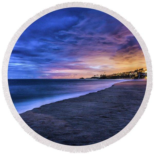Aliso Beach Lights Round Beach Towel