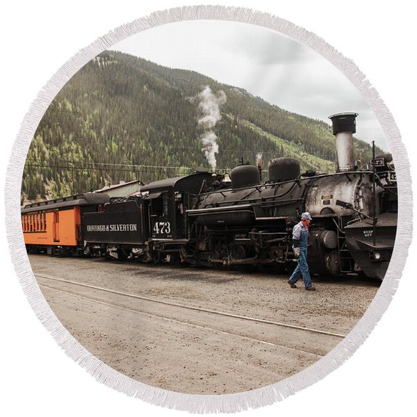 Round Beach Towel featuring the photograph All Aboard To Durango by Lon Dittrick