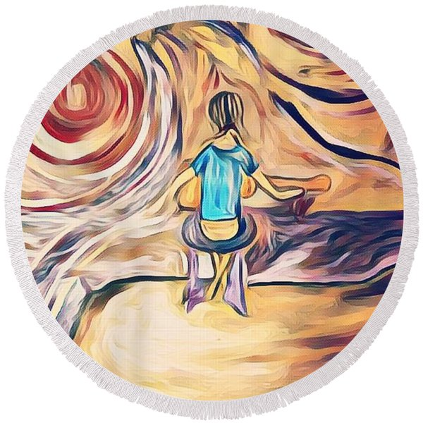 All Around Me Round Beach Towel