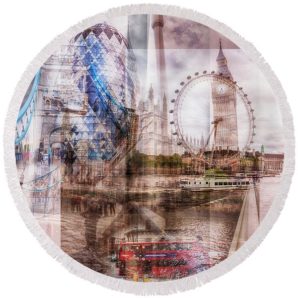 all famous building of London Round Beach Towel