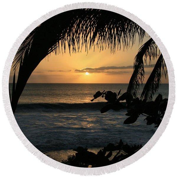 Aloha Aina The Beloved Land - Sunset Kamaole Beach Kihei Maui Hawaii Round Beach Towel