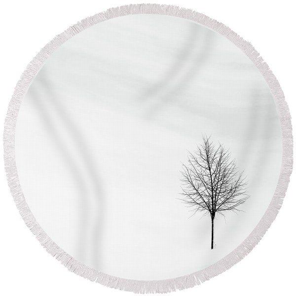 Alone In The Storm Round Beach Towel