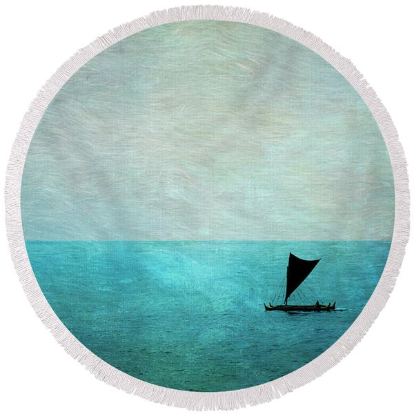 Round Beach Towel featuring the photograph Alone by Mary Lee Dereske