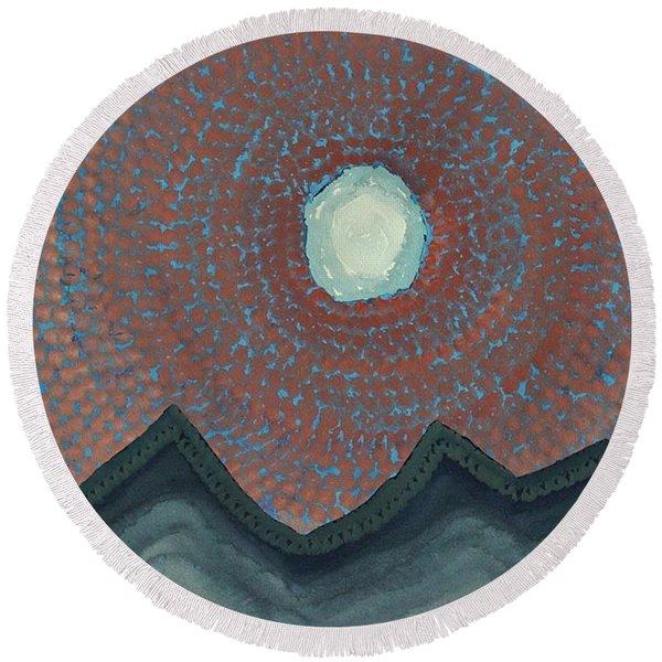 Alpine Resonance Original Painting Round Beach Towel