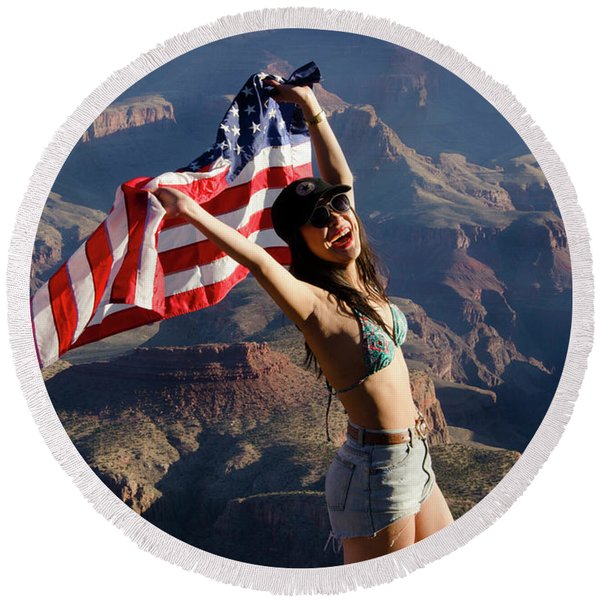 America The Beautiful Round Beach Towel