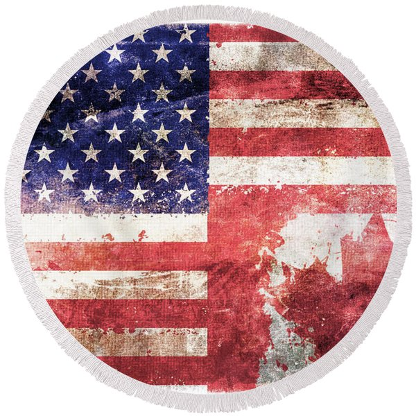 American Canadian Tattered Flag Round Beach Towel