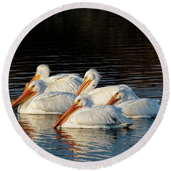 American Pelicans - 03 Round Beach Towel