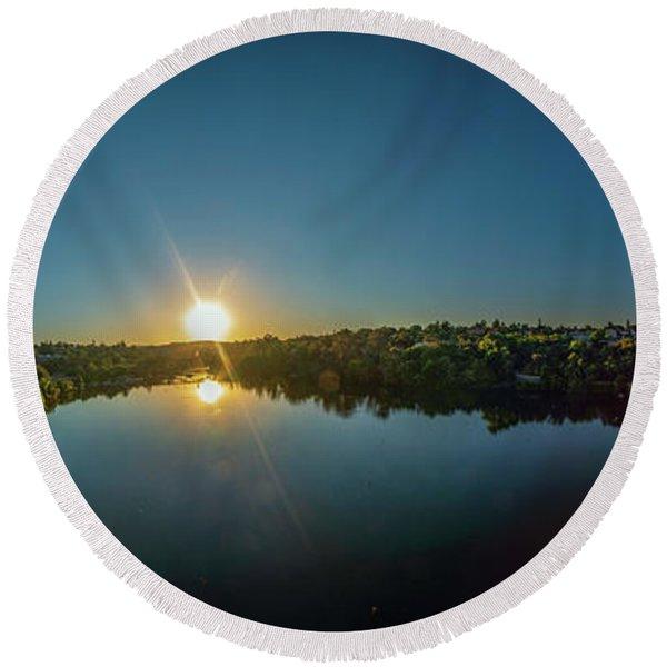 American River At Sunrise - Panorama Round Beach Towel