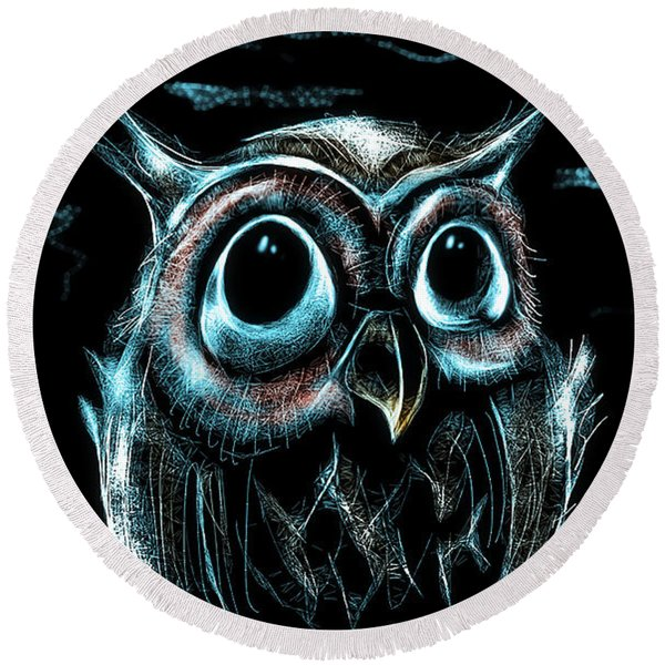 An Owl Friend Round Beach Towel