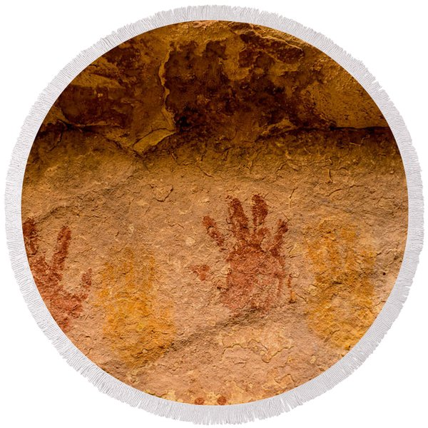 Anasazi Painted Handprints - Utah Round Beach Towel