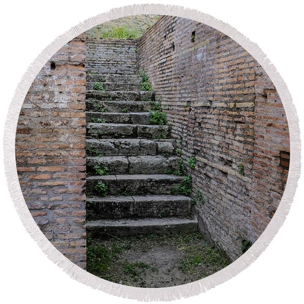 Ancient Stairs Rome Italy Round Beach Towel