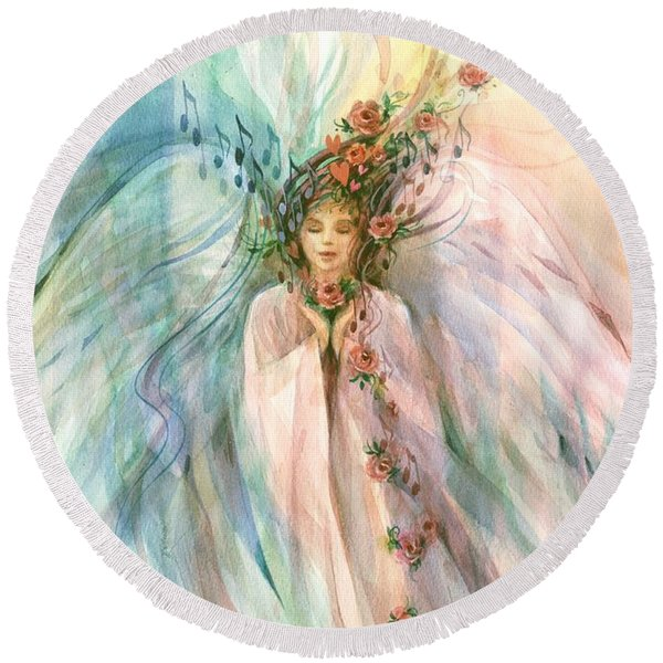 Round Beach Towel featuring the painting Angel Of Serenity by Carolyn Utigard Thomas