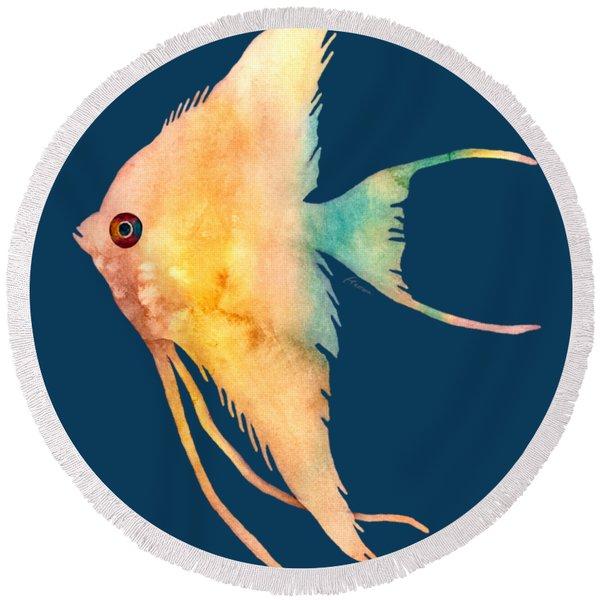 Angelfish II - Solid Background Round Beach Towel