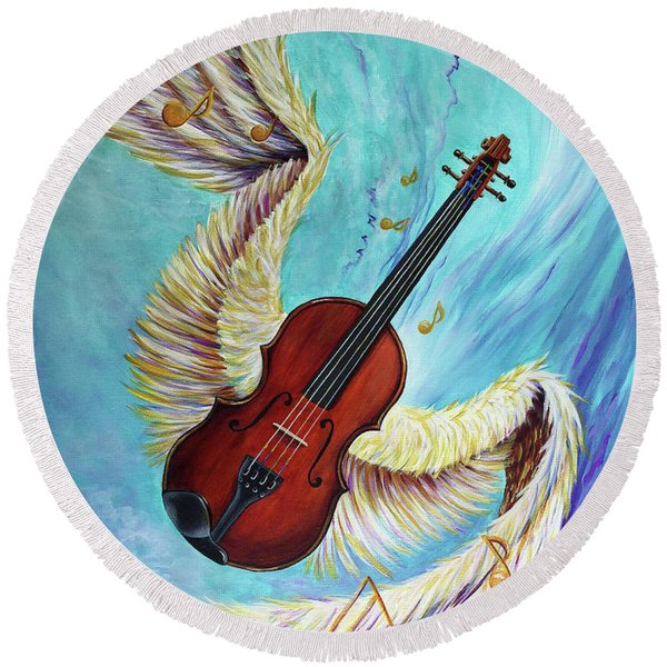 Round Beach Towel featuring the painting Angel's Song by Nancy Cupp