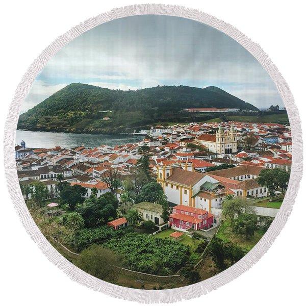 Angra Do Heroismo And Monte Brasil, Terceira Island Round Beach Towel