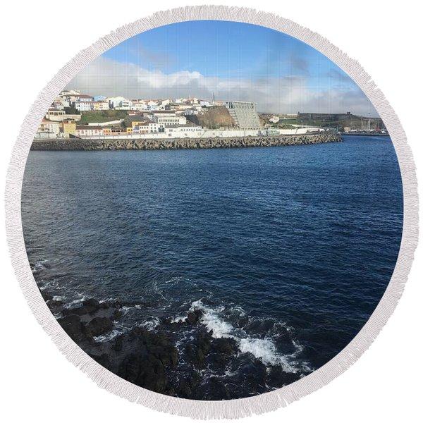 Angra Do Heroismo, Terceira, The Azores, Portugal Round Beach Towel