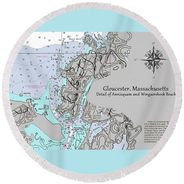 Annisquam And Wingaersheek Beach Round Beach Towel