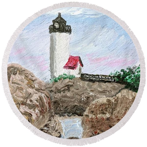 Annisquam Sunset 1 Round Beach Towel