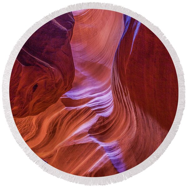 Round Beach Towel featuring the photograph Antelope Canyon Beauty by Lon Dittrick