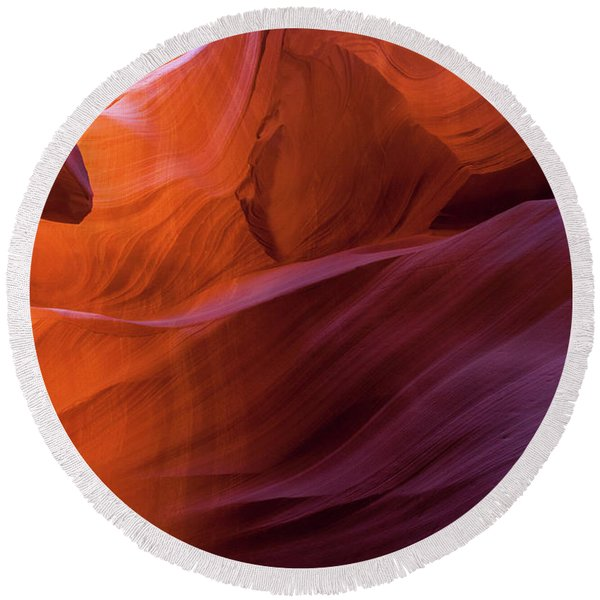 Round Beach Towel featuring the photograph Antelope Canyon Fire by Lon Dittrick
