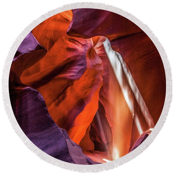 Round Beach Towel featuring the photograph Antelope Canyon Lightshaft 3 by Lon Dittrick