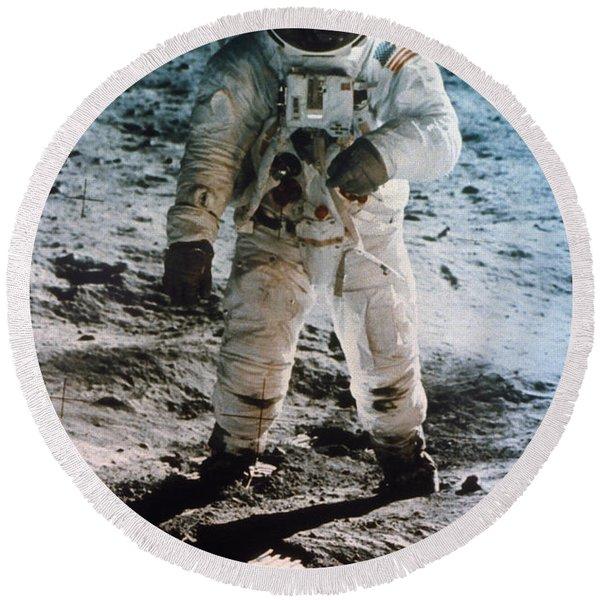Apollo 11 Buzz Aldrin Round Beach Towel