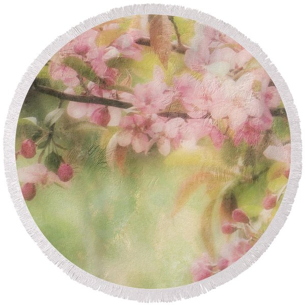 Apple Blossom Frost Round Beach Towel