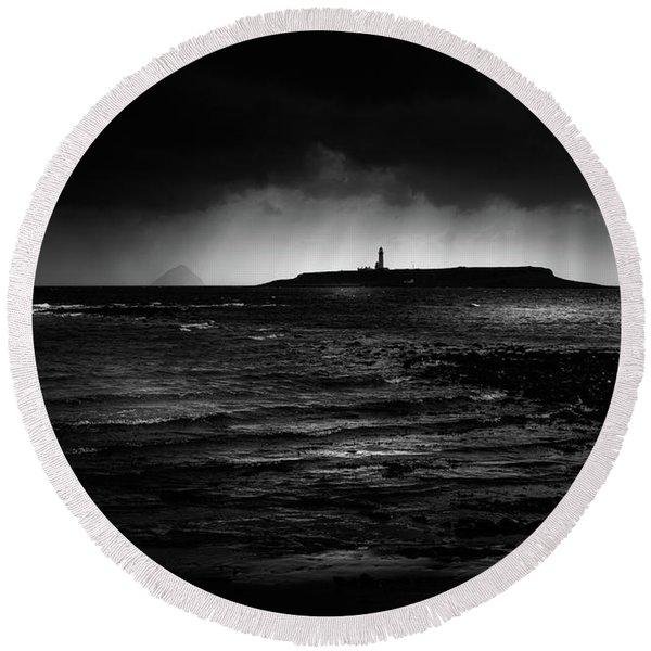 Approaching Storm, Ailsa Craig And Pladda Island Round Beach Towel