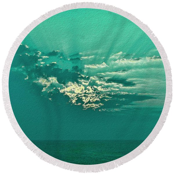Aqua Sunset Round Beach Towel