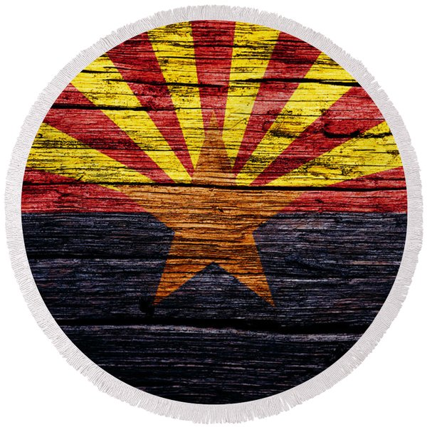 Arizona State Flag 2w Round Beach Towel