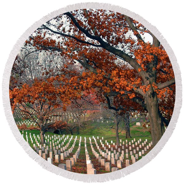 Round Beach Towel featuring the photograph Arlington Cemetery In Fall by Carolyn Marshall