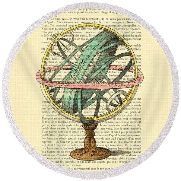 Armillary Sphere In Color Antique Illustration On Book Page Round Beach Towel