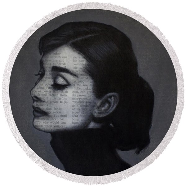 Art In The News 98-audrey Hepburn Round Beach Towel