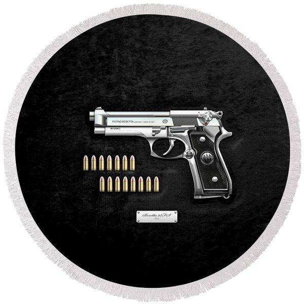 Beretta 92fs Inox With Ammo On Black Velvet  Round Beach Towel