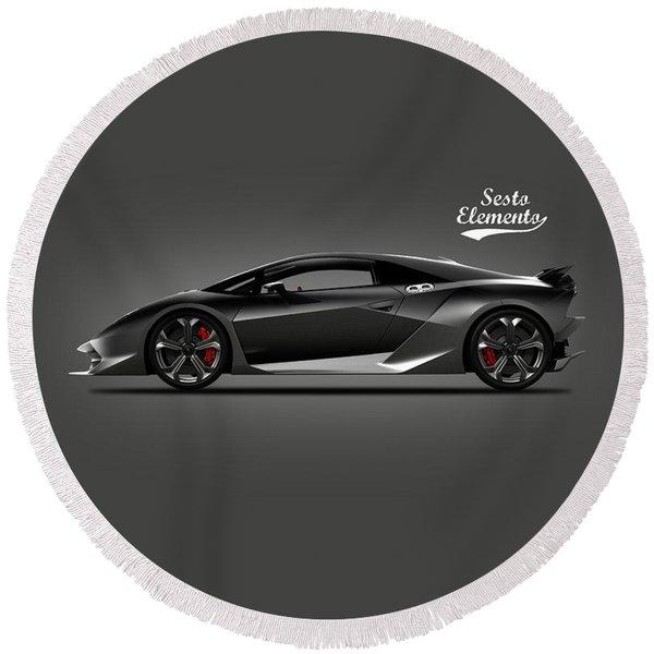 Lamborghini Sesto Elemento Round Beach Towel