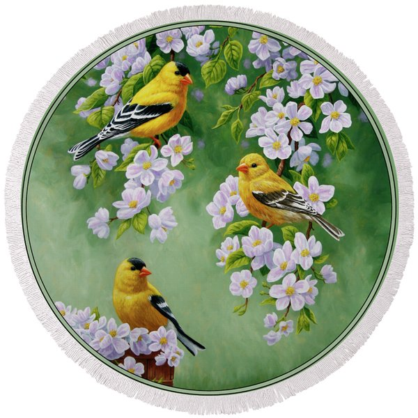 American Goldfinches And Apple Blossoms Round Beach Towel