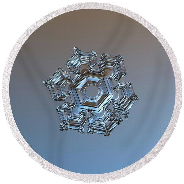 Snowflake Photo - Cold Metal Round Beach Towel