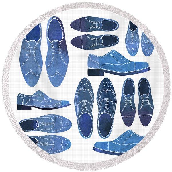 Blue Brogue Shoes Round Beach Towel