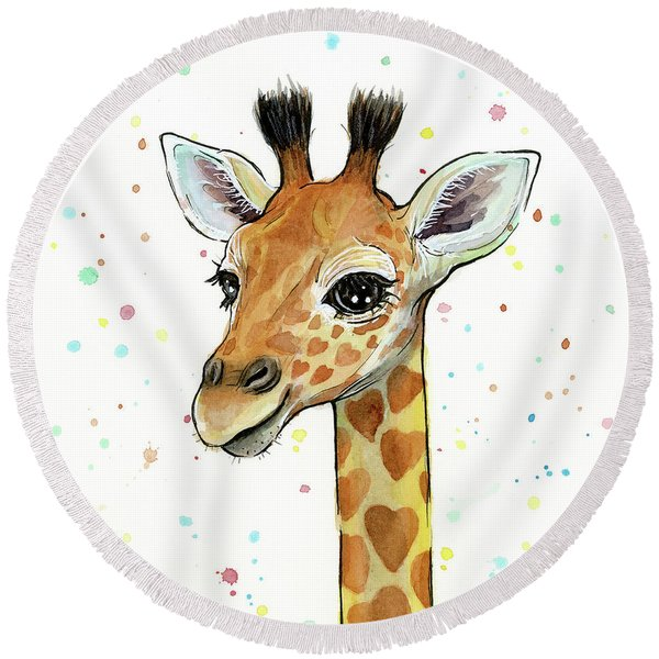 Baby Giraffe Watercolor With Heart Shaped Spots Round Beach Towel