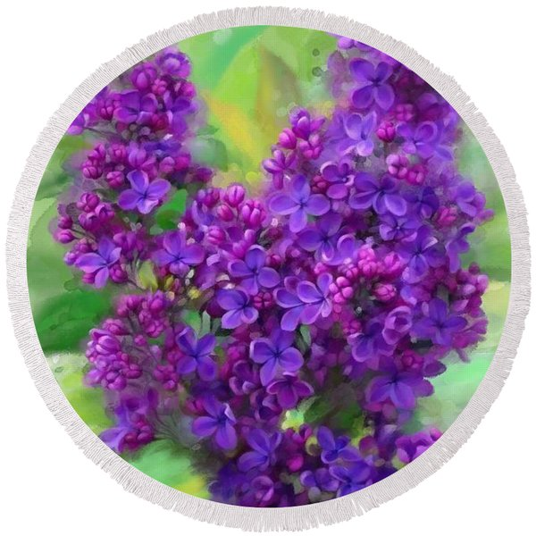 Watercolor Lilac Round Beach Towel