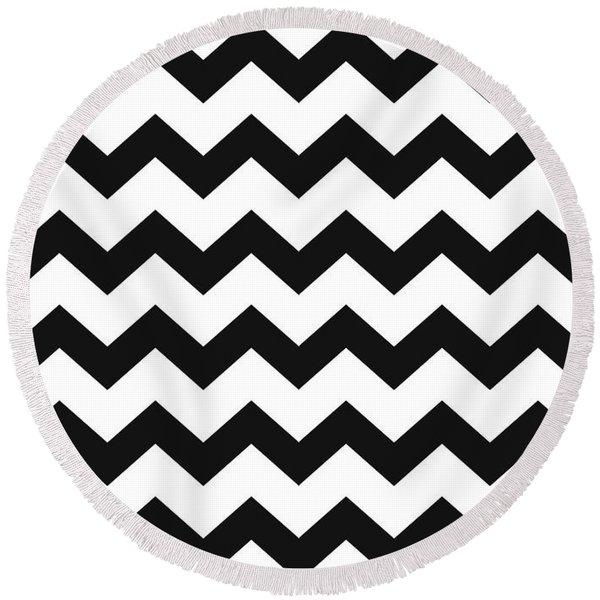 Black White Geometric Pattern Round Beach Towel
