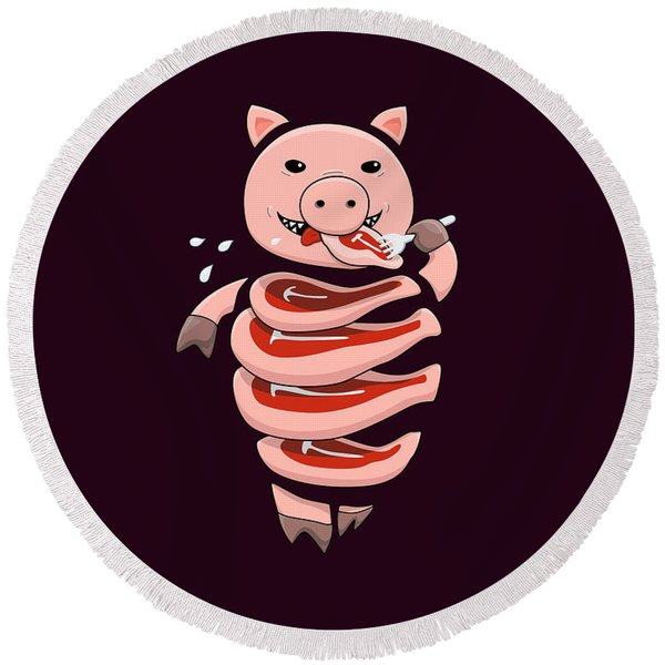 Gluttonous Self-eating Pig Round Beach Towel