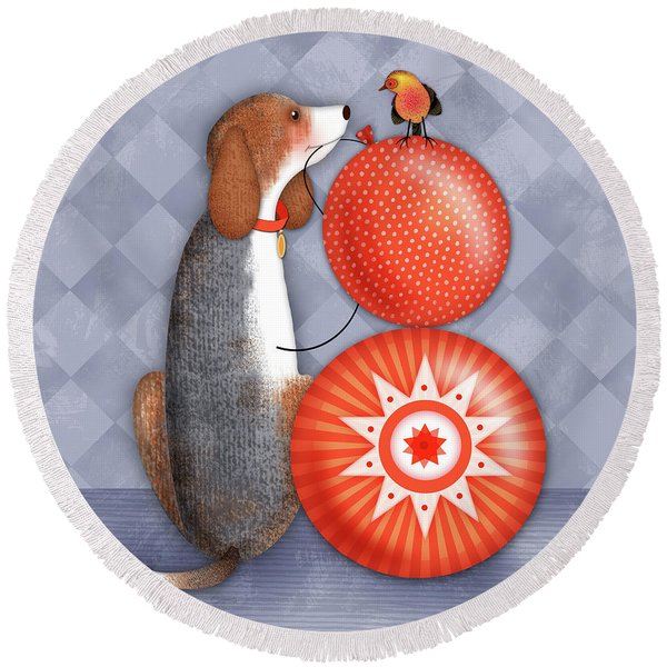 B Is For Beagle Round Beach Towel