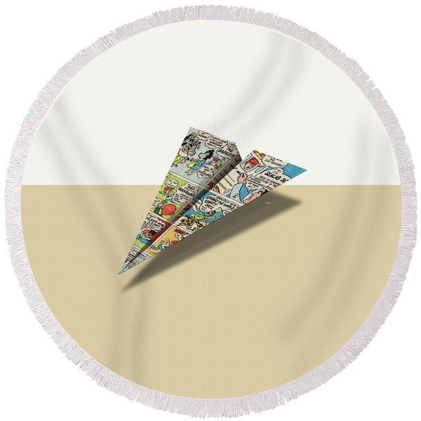Terrific Ten II Comic Book Ad Paper Airplane Round Beach Towel