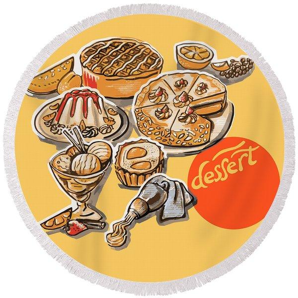Kitchen Illustration Of Menu Of Desserts  Round Beach Towel