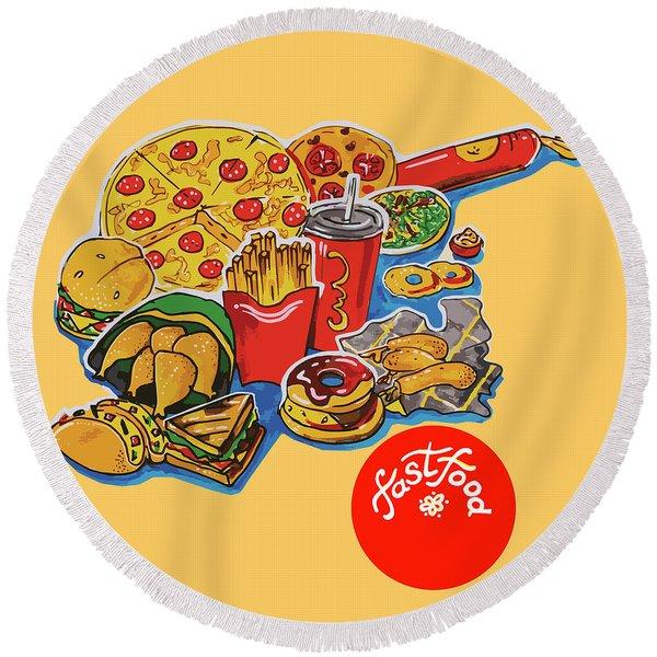 Kitchen Illustration Of Menu Of Fast Food  Round Beach Towel