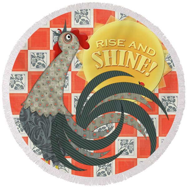 Good Morning Rooster Round Beach Towel