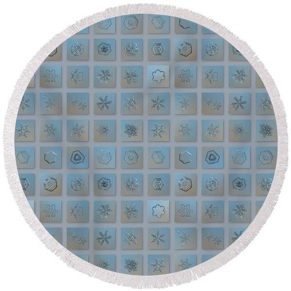 Snowflake Collage - Season 2013 Bright Crystals Round Beach Towel